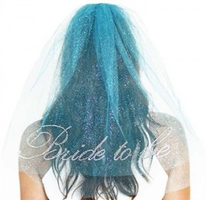 blue bride to be veil
